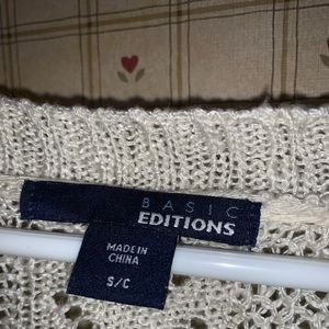 Basic Editions Sweaters - Cream Open Front Cardigan